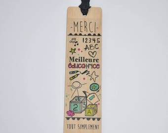 Wooden - best teacher bookmark