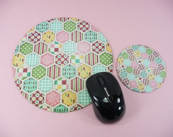 PATCHWORK Mouse Pad Coaster Set Round Cute Desk Computer Accessory Bright Cheery Colors Patch Work Office Home Decor