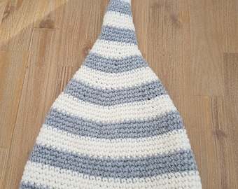 Hat for a sailor Pixie :) in gray and white pure wool