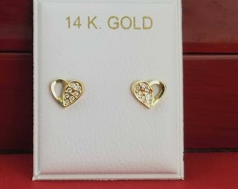 14K Heart Stud Earrings, 14k Gold Heart With Cz Stud Earrings, 14K Gold Heart Stud Earrings, Heart Earrings whit Screw Back, Gold Heart