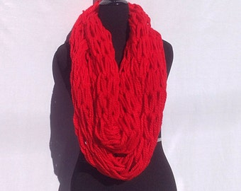 Chunky Infinity Scarf in Bright Red (arm knitting)
