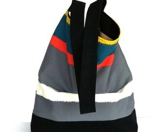 Striped hobo bag , cotton shoulder purse , vegan slouch multicolor purse  for women , travel tote bag , shoulder purse , shoulder bag