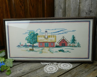 Vintage Cross Stitch Barn Scene in Wood Frame - Barn, Out Building
