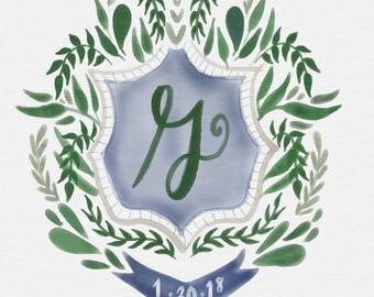 Custom Wedding Crest Watercolor