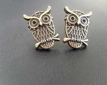 Brass Owl Stud  Earrings, halloween earrings, fall earrings, autumn earrings