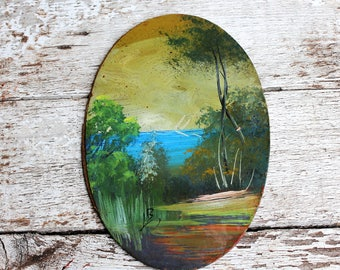 Oil Painting, Vintage Original Painting, Antique oil wall art, Oval Forestation Painting, Miniature oil painting, Vintage Wall art, Decor