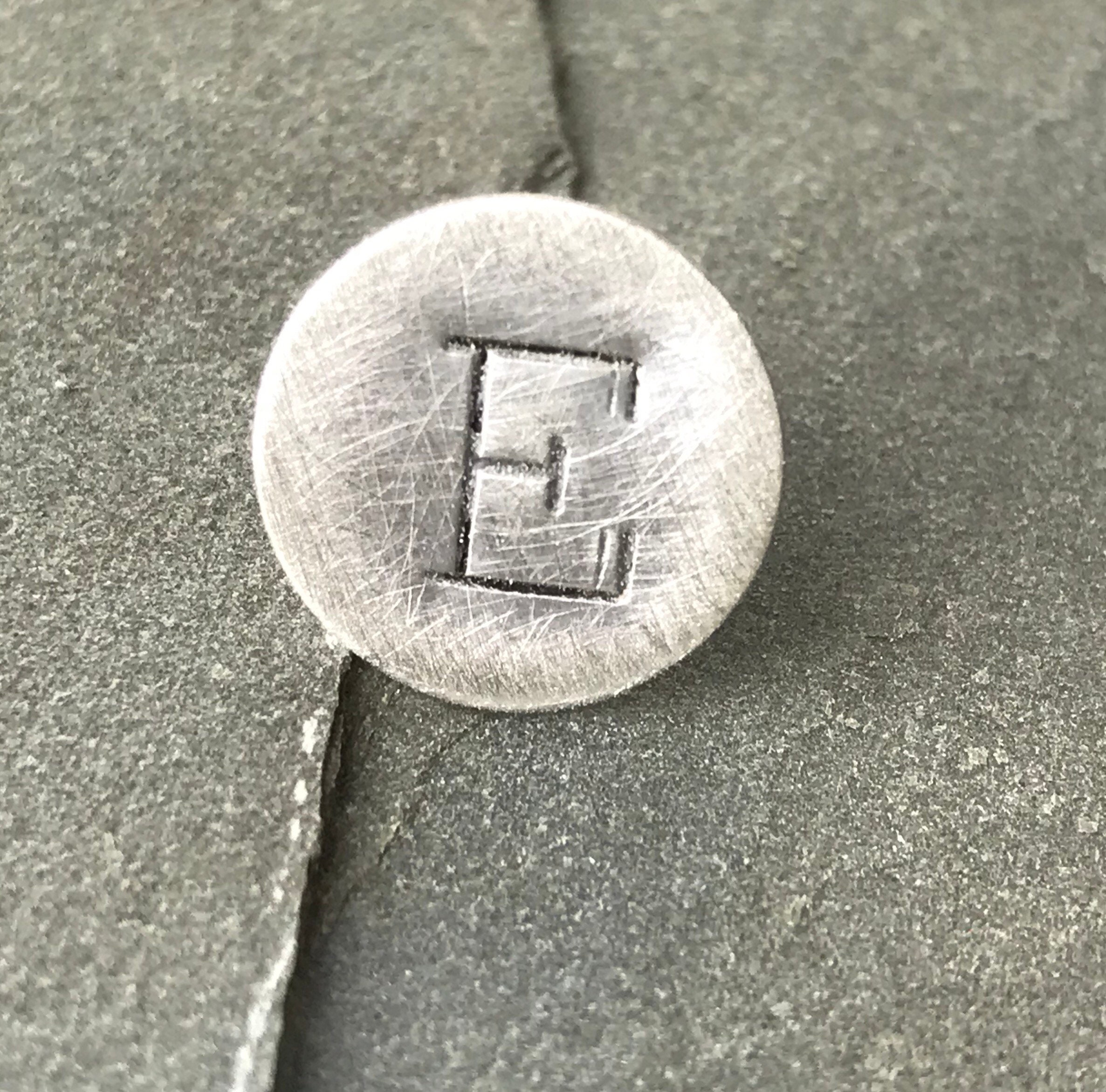 Hand stamped tie tack sterling silver- lapel pin Mens monogram initial custom gift wedding party pebble and ore suit and tie accesory