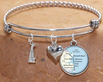 Rehobeth Dewey Bethany Lewes Fenwick Island Delaware Beaches Map Charm Bracelet State of DE Bangle Cuff Bracelet Stainless Steel Bracelet
