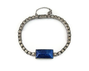 Art Deco Sterling Bracelet - Lapis Glass, Art Glass, Clear Rhinestones, Sterling Silver, Art Deco Jewelry, Antique Bracelet