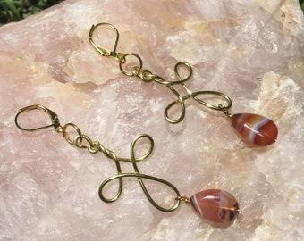 Carnelian Infinity Earrings