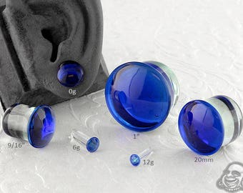 "Single Flare Cobalt Dome Plugs 12g, 10g, 8g, 6g, 4g, 2g, 1g, 0g, 9mm, 10mm, 7/16"", 12mm, 9/16"", 5/8"", 18mm, 20mm, 7/8"", 1"""