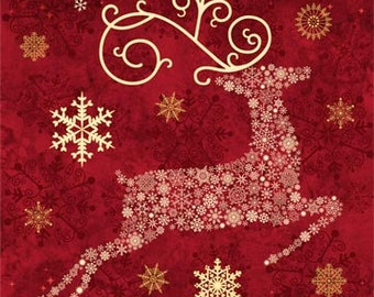 Northcott Christmas panel. Cranberry Red Reindeer. Metallic.