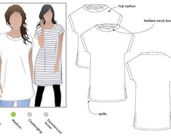 Digital PDF Sewing Pattern - Nora Woven Tunic / Dress - Sizes 10, 12, 14 - Tunic Dress Sewing Pattern by Style Arc
