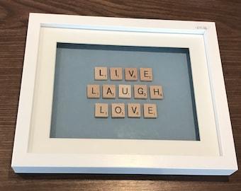 Live laugh love scrabble frame