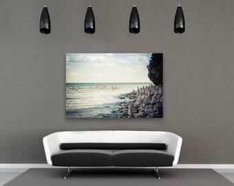 Cave Point Rock Formations, Home Decor, Large Wall Art Print, Beach Photography, Beach Wall, Bathroom Wall Art, Door County, Kayak
