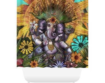 Ganesha Maya Shower Curtain - Floral Ganesh Bath Curtain - Bathroom Decor - Hindu Mayan Fusion Art by Artist Christopher Beikmann