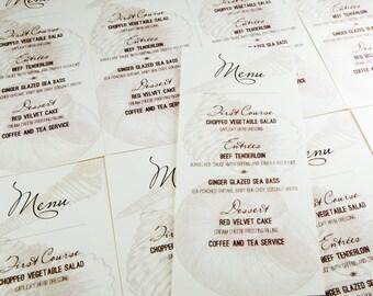 Seashell Menu Cards Beach Wedding Decor Custom Handmade Bridal Seashore Nautical