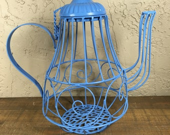 Tea Party Centerpiece / Blue Wire Teapot/ Alice In Wonderland / Wire Teapot