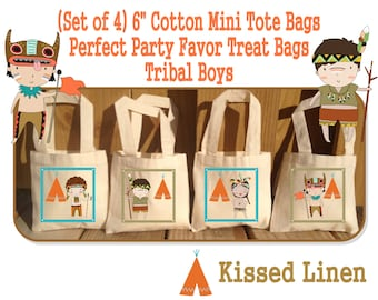 Tribal Boys Teepee Party Treat Favor Gift Bags Mini Cotton Totes Children Kids Boy Birthday Camping Party Baby Shower Set of 4