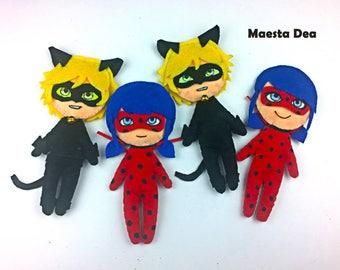 Miraculous Ladybug-Plush plush Ladybug and Cat noir/Chat Noir