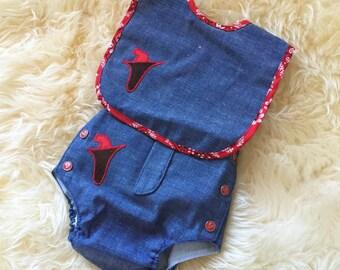Vintage 1970s Baby Size 3M Clothing Set / Alexis Bib and Diaper Cover Set NOS / Blue Denim, Gun Holster Applique, Pistol Metal Snaps