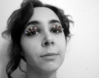 Rave Eyelash Jewelry - beaded eye kandi with neon flowers
