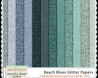 Instant Download - Set of 12 digital papers - Beach Blues Glitter Papers