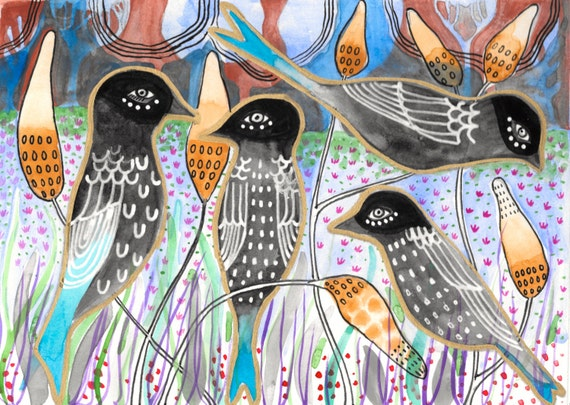 Print Art Painting Watercolor Blackbird Giclee Print Collage Giclee Canvas Paper