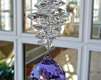 "Purple Crystal Ball Suncatcher, Made Entirely with Swarovski Crystals, 30mm Ball (1.2"") Topped with Cascade of Crystal Octagons-""CATHERINE"""