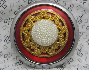 Tour de miroir de poche rouge avec pochette de protection - miroir de poche cadeau - cadeau de miroir compact - Red Hot - cadeau - rouge miroir compact