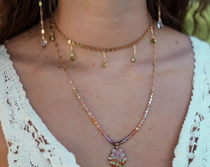 Dangling Peridot Choker/14k Gold Filled/Adjustable Length