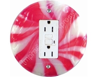 Peppermint Candy GFI Outlet Plate Cover