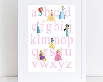 Princess ABC print- nursery print, playroom print, bedroom print