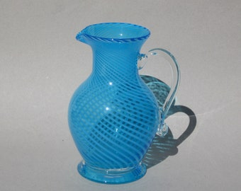 Turquoise Swirl Glass Pitcher Vintage Blown Glass Pitcher 40 ounce Capacity
