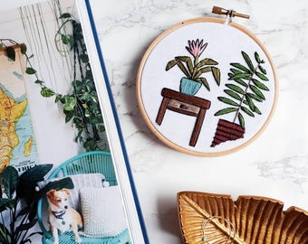 Urn Plant & Palm Tree Hand Embroidered Hoop Art | Embroidery, Home Decor, Cactus, Wall Hanging, Art, Cactus Art, Palm Art, Wall Hanging