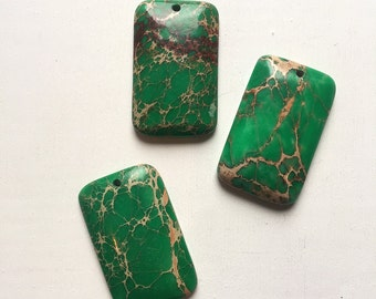 Green Magnesite Rectangle Focal Stones