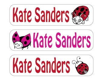 40 Ladybugs Waterproof Kid's Sippy Cup or baby item Labels - Dishwasher Safe - great for food containers, bottles, lunch box, jars Sip018