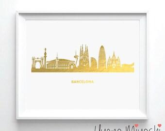 Barcelona Skyline III Gold Foil Print, Gold Print, City Skyline Gold Print, Gold Art Print, Barcelona Spain Skyline Gold Foil Art Print