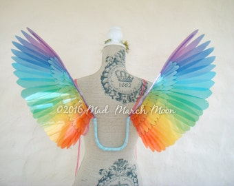 Wearable Bird wings, rainbow, small size. Transparent rainbow wings. Suitable for adults.