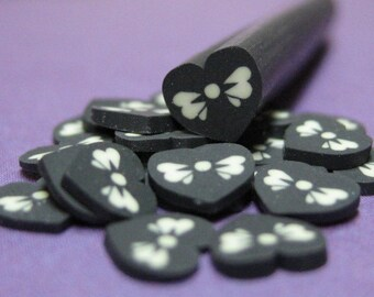 Black heart white bow polymer clay cane baked uncut 1pc for nail art decoden crafts miniature food decoration goth valentines day