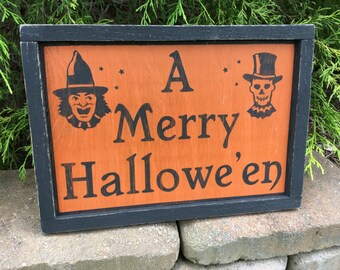 Halloween, Sign, Merry, Halloween, Holiday, Witch, Skeleton, Wood, Sign, Signs, Primitive, Rustic