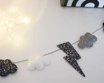 Cloud & Lightening Bolt Monochrome Garland