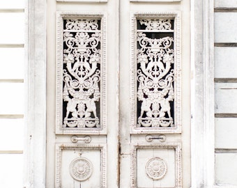 Paris Photography - Weathered Door in Cream, Travel Architecture Photography, Fine Art Photograph, Large Wall Art, French Home Decor