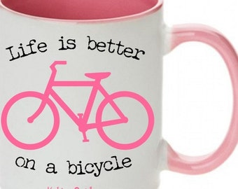 Bicycle Coffee Cup, Bicycle Cups, Bicycle Coffee Cups, Bike Cups, Bike Coffee Cups, Bicycle Mug, Pink Bicycle Mug, Pink Bike Mug
