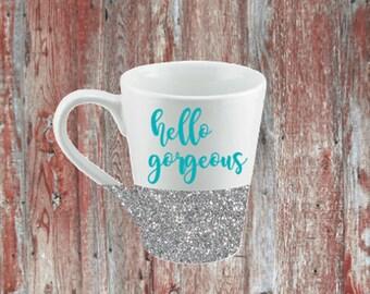 Hello Gorgeous Glitter Coffee Mug