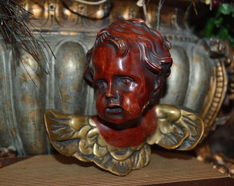 Vintage German Stucco Cherub Angel Head with Wings