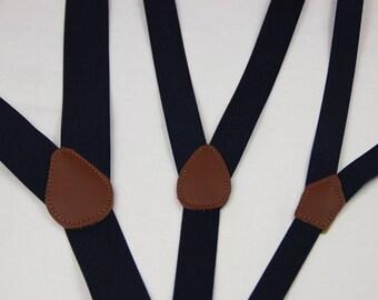 Navy blue suspenders, M to XXL deep blue mens suspenders,wedding suspenders,custom groomsman suspenders,father suspenders, groom Suspenders,