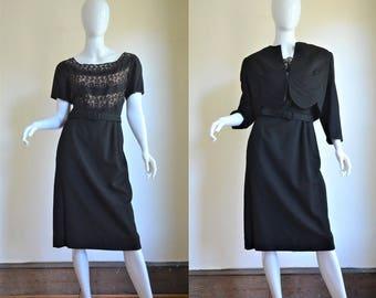 Hubba Hubba! 1950s Paul Parnes Black Lace & Wool Hourglass Wiggle Dress Suit Bust