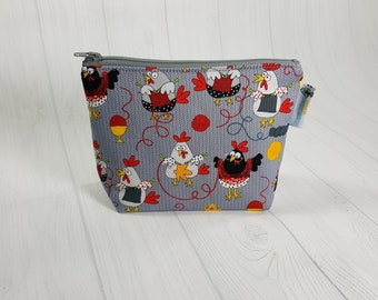 Yarn Chickens Zipper Notions Pouch, Mini Zippered Wedge Bag, Craft Pouch NP0044