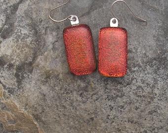 Rust Red Earrings Fused Dichroic Glass Red Earrings